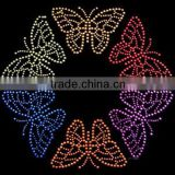 Bling butterfly motif Hotfix Rhinestone Transfer Design for T-shirts
