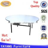 Shunde wholesale wedding event round folding plywood top restaurant iron table for hotel table