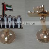 UAE 7 Sheikhs Metal Enamel Plate Rotatable Bracket Trophy Stand Souvenir National Day Gifts
