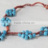 Necklace beads Bali braided pendant Bead work Stone Jewelry