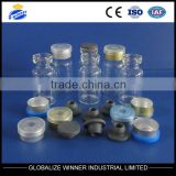 2ml clear tubular glass vial with aluminum cap with rubber stopper