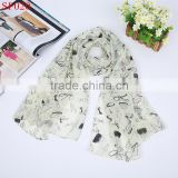 SF020 baby blue fashion lady scarves city life print silk scarves for spring and autumn season