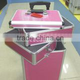 Cosmetic rolling case, makeup artist case, Aluminum body oragnizer