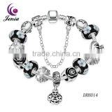 Jenia 2016 Beautiful Crystal Zircon &Silver & White Gold Hollow Glass Beads Bracelet