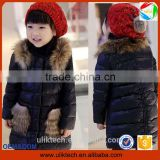 high quality black color long coat warm clothes for baby girl clothes girls winter coat
