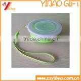 Portable Green Silicone Cup With Cover For Traveling