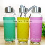 promotion new item single-deck water glass bottle with Stainless Steel lid&Leather cover