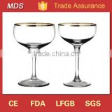 Round cheers champagne coupe set with gold rim