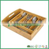 Bamboo wooden flatware tray with handle