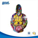 100% polyester breathable zip up customized youth dye sublimation cartoon hoodies for children