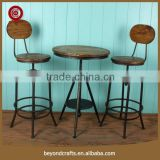 China custom metal frame wooden cheap bar table sets
