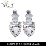 Hot jewelry designer white resin and crystal rivet dangle earrings jewelry for women and men