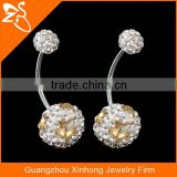 Stainless Steel Belly Button Rings High Quality Navel Piercing Jewelry with Charming Crystal Ball