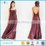 Rayon printing with strap and backless designs tie side maxi dress