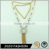 Fashion Jewelry Handmade Donut Shaped Filled Crystal Alloy Stones Tassel Pendent And Glass Rondelle Beads Necklace