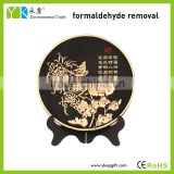 Gold chrysanthemum flower plate shape environmental protection home interior wood art work craft