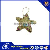 Newest Christmas Lucky Star Gold Glitter Christmas Xmas Tree Hanging Pentagram Ornaments