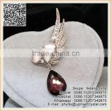 Angel Wings Crystal Pendant Brooch Ruby Diamond Rhinestone Brooch Pin