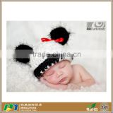 READY Adorable Panda Bear Soft Textured Crochet Baby Hat with Black Fuzzy Ears & Red Ribbon
