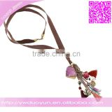 Semi Precious Gemstones And Rose Quartz Crystal Pendant Necklace With Real Brown Leather