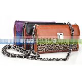 VIGO Women's Detachable Clutch Wristlet And Body Chain Smartphone Wallet Up To 5.5 Inch Total Height Purple With Leopard