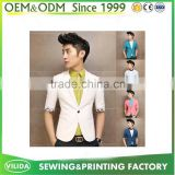 OEM One Button Front Short Sleeves Men Slim Fit Cotton Blazer with Lining
