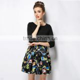 New Autumn Woman Three-Quarters Sleeve Dress Ponte Black Printing Satin Patchwork Femme Robe Casual