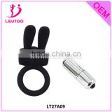 Rabbit vibrator penis erection Cock Ring Sex Toy with a bullet vibrator, Time delay penis massger sex product