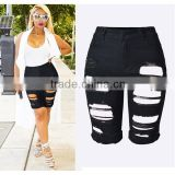 2016 Summer Fashion Women Cool Stylish Jean Half Pant Design Short Pants Ladies Black Baggy High Waist Ripped Jeans Factory