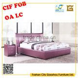 2016 modern design leather double sofa bed solid wood frame and leather for the bedroom furniture