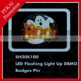 Flashing light up DEMO plastic badges lapel pin