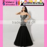 Newest Design Strapless Sweetheart Sexy Elegant Black Evening Dress Wholesale Beaded Mermaid Sexy Elegant Black Evening Dress