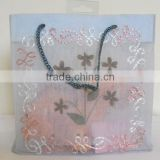 Fine 100% cotton transparent Indian manufactured organza bag with natural dry flower work & hand embroidery