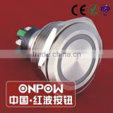 30 Years Industry Leader ONPOW Metal Push Button Switch GQ30-L-11E/S Dia. 30mm stainless steel ring illuminated IP65 CE ROHS