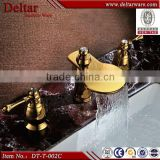 Golden glass waterfall faucet,Double Handle Lavatory Automatic Mixer Tap,Cheap Water Faucets