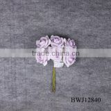 wholesale artificial purple PU Rose Bouquet for Wedding decoration
