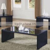 3pcs black glass top wood coffee end table