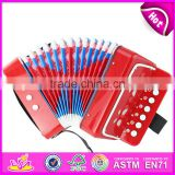 Hot selling children toy wooden musical accordion instrument W07K006A