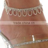 Fully crystal setting foot jewelry wave shape pearl crystal anklet unique gifts crystal anklets for sun beach jewelry