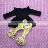 FLF-863 black baby ruffle dress matched fox design ruffle pants kids toddler clothing baby clothes clothing set