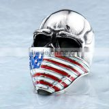 Mens Punk Goth Skull Ring Patriotic Stars Stripes Honor American Flag Bandit Biker Stainless Steel Ring Size 8-14