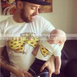 Pizza Pattern Father and Son Matching T-shirt Baby Cotton Short Sleeve Shirt