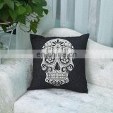 2016 hot living room decorative sofa back support cushion,customized print skull cotton linen pillow,throw black skull cushion