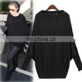 New Fashion Women Casual Oversize T-shirts Batwing Knit Sweater Jumper Pullover Long Sleeve Tops