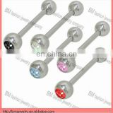 Stainless steel crystal tongue ring body piercing jewelry