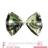 2017 new Classic money bow tie $100 Dollar Bill Ivory Polyester for Mens Tuxedo