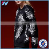 Yihao high quality 2015 ladies sublimation printed fashion hoodies custom long sleeve pullover sweatshirt without hood
