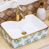 ​creramic green color new design rectangle single hole art wash hand basin sink with A quality