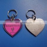 Silver plating heart shape soft enameled pink and purple color jewelry metal pendant charm for necklace