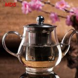 Heat resistant penguin stainless steel lid glass teapot set with strainer